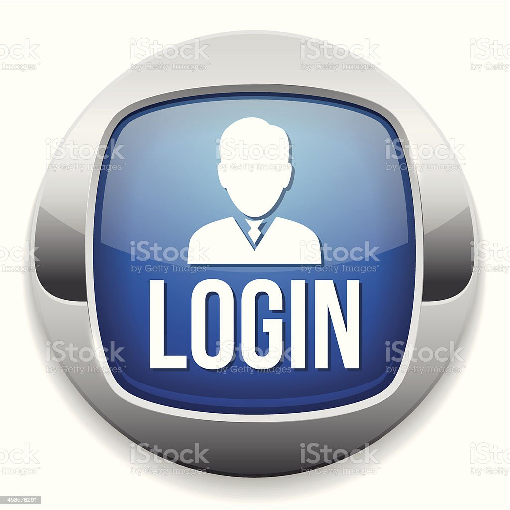 Blue metallic login button royalty-free stock vector art