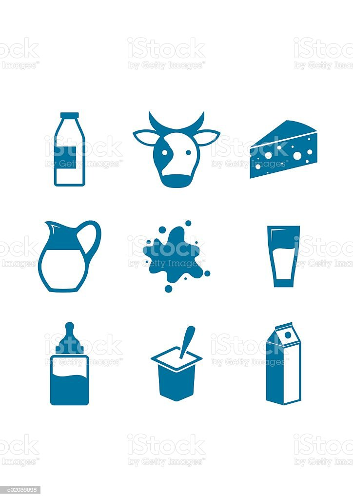 Blue Milk Icons on white background vector art illustration