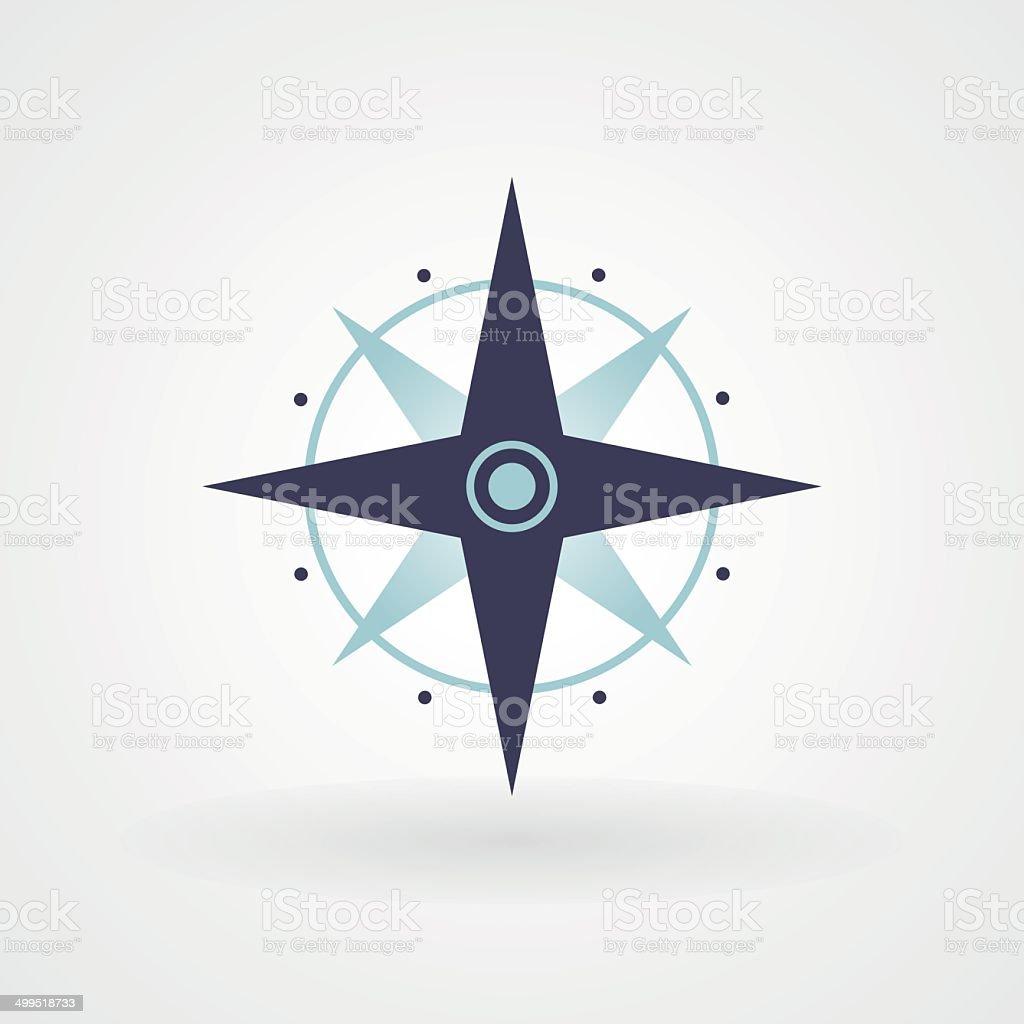 Blue minimal compass vector art illustration