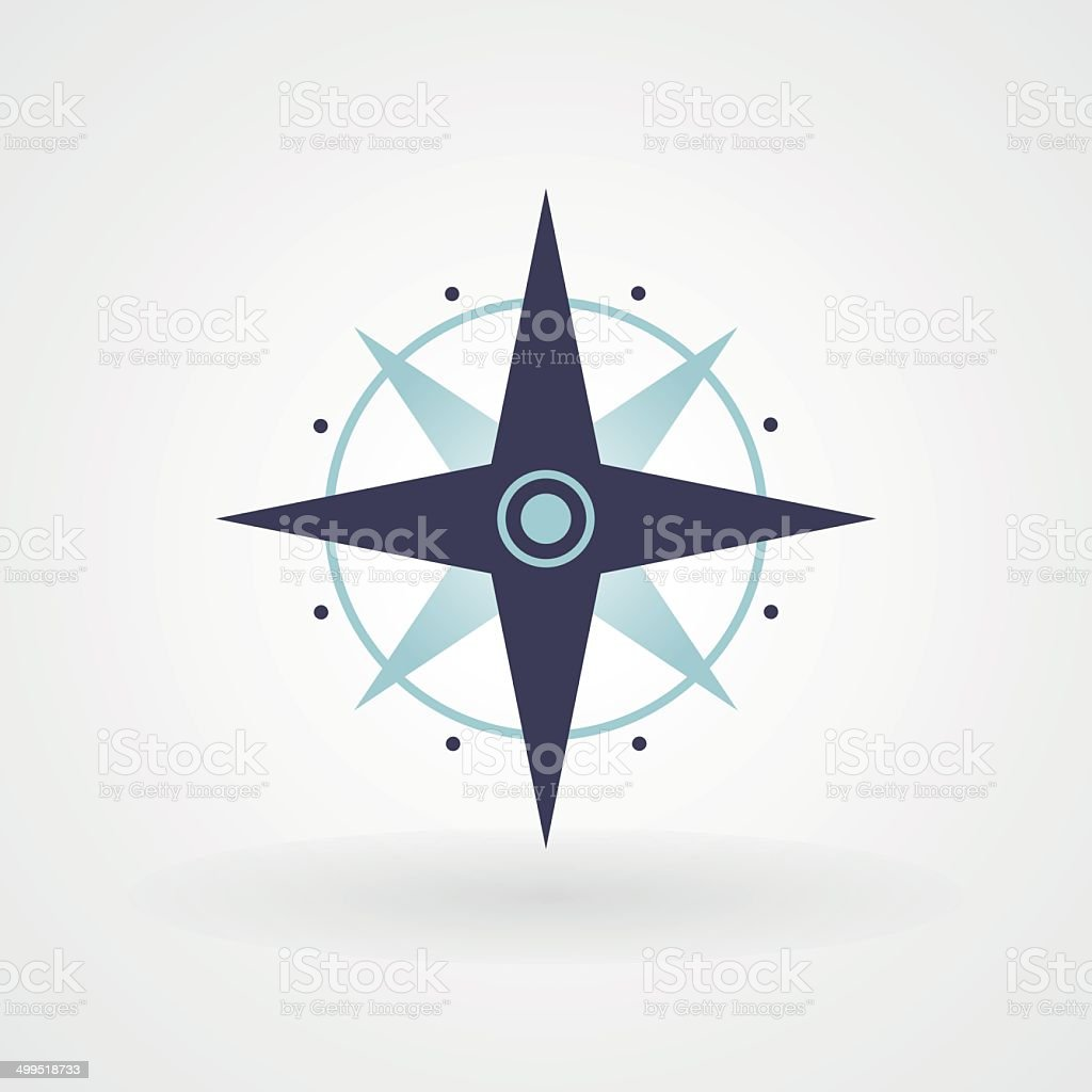 Blue minimal compass vector art illustration