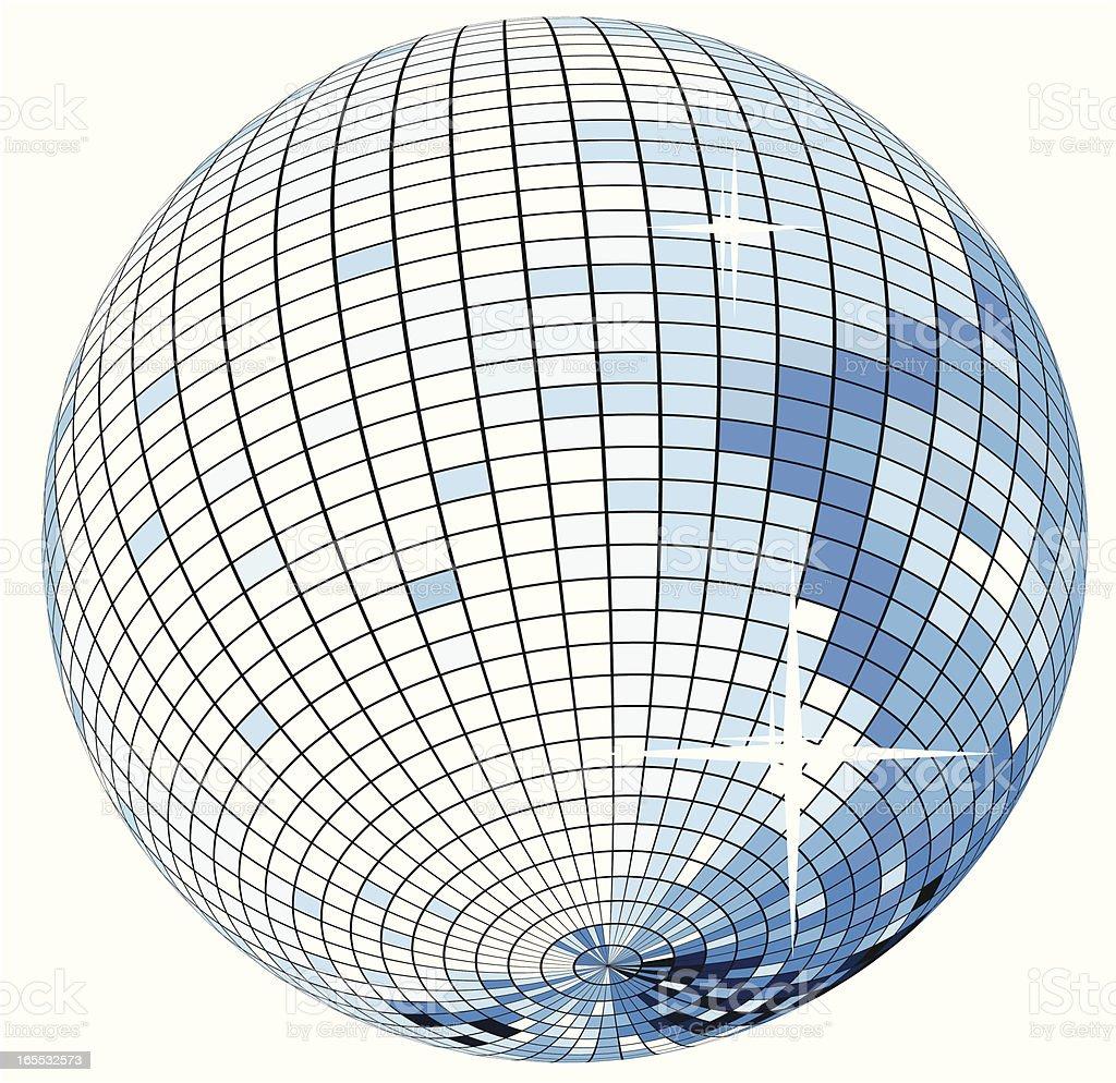 Blue mirror ball - VECTOR royalty-free stock vector art