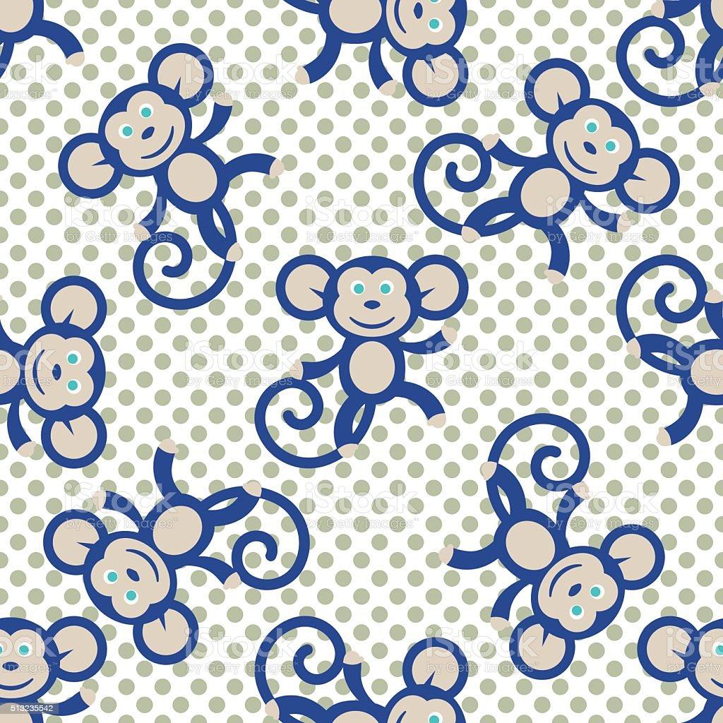 Mono Azul Vector De Patrón Sin Costuras Niño Para Imprimir Textil ...