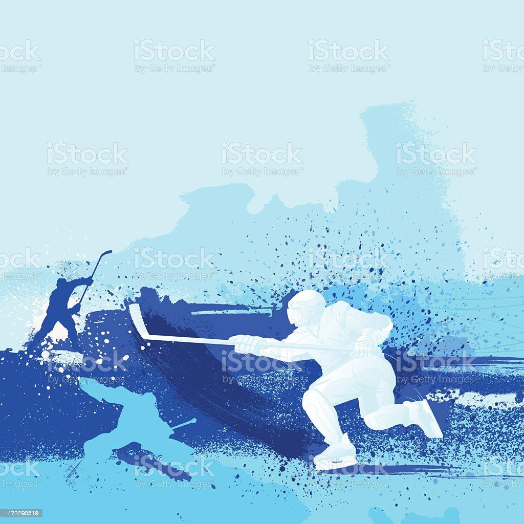 Blue monochrome illustrated hockey design vector art illustration