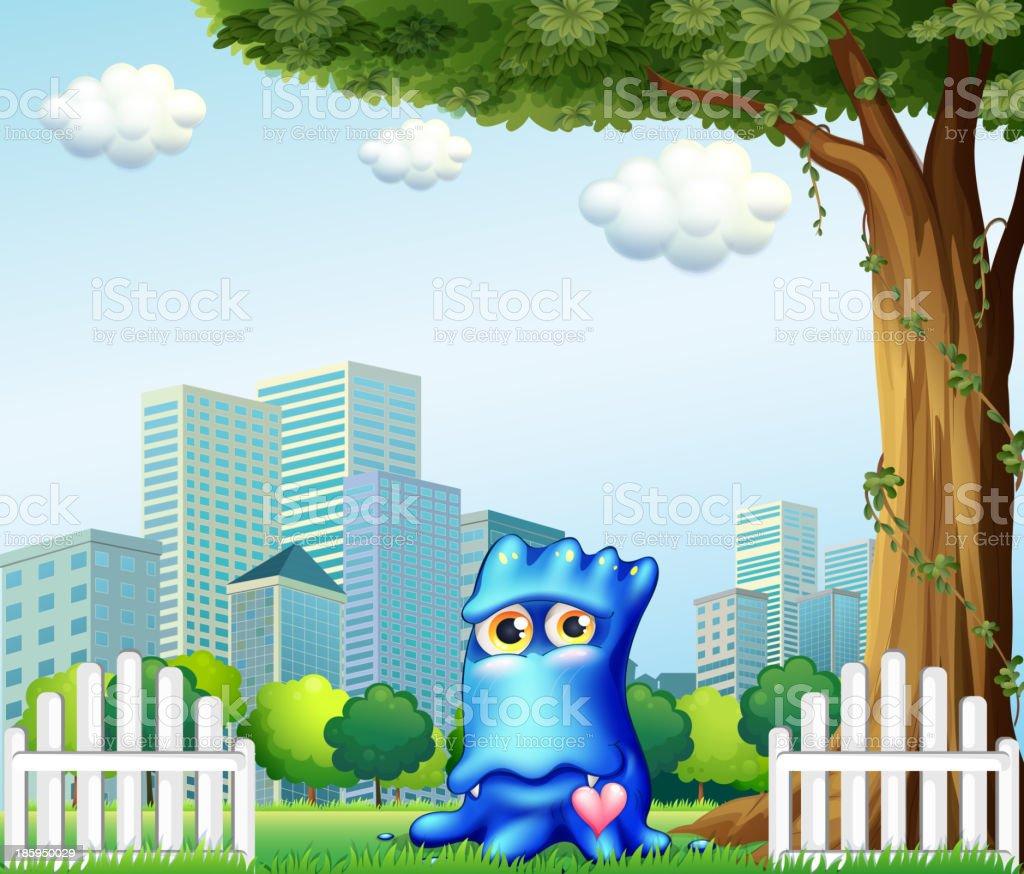 blue monster standing near fence across tall buildings royalty-free stock vector art