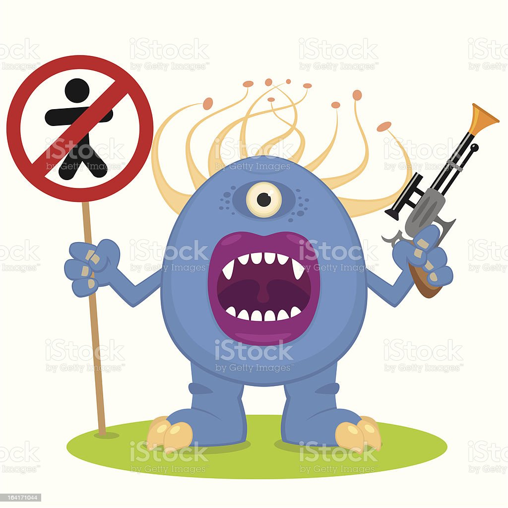 blue monster with a blaster royalty-free stock vector art