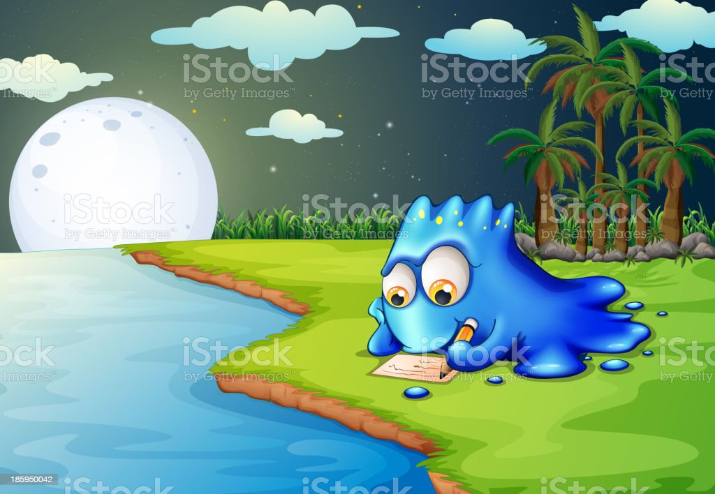 blue monster writing a letter at the riverbank royalty-free stock vector art