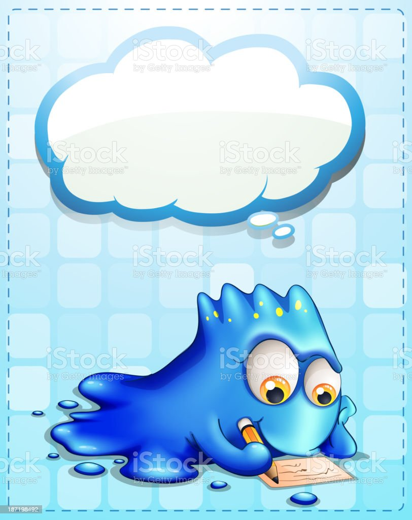blue monster writing with an empty cloud callout royalty-free stock vector art