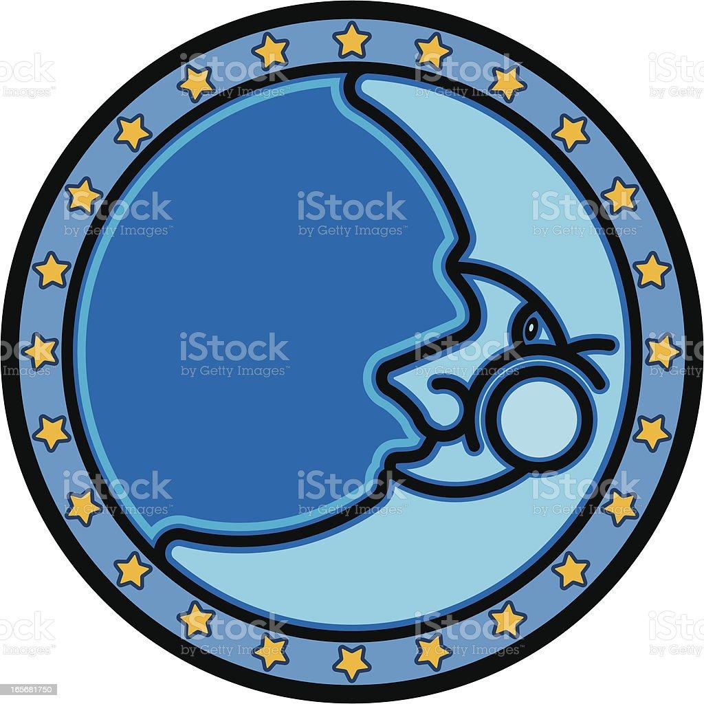 Blue Moon vector art illustration