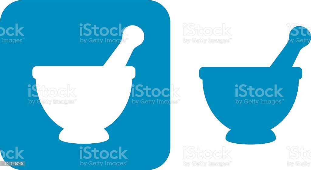 Blue Mortar And PestleIcons vector art illustration