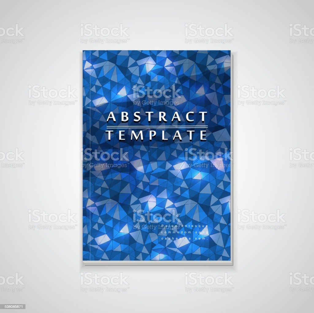 blue mosaic background design for book cover vector art illustration