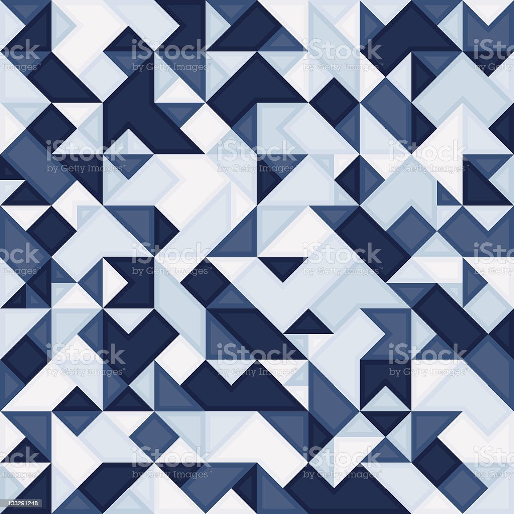 Blue mosaic geometric pattern made of small facets royalty-free stock vector art
