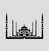 Blue Mosque, Istanbul Solid Vector Illustration