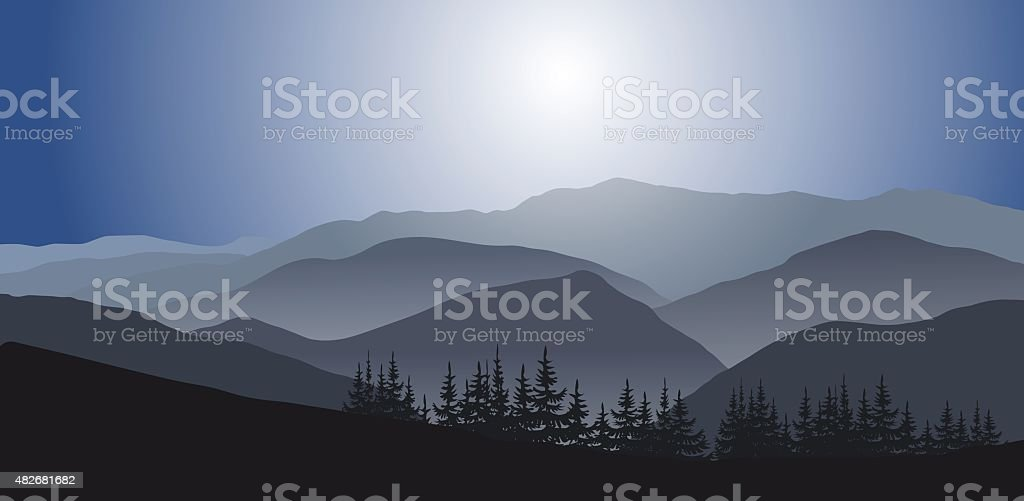 Blue Mountains in foggy morning vector art illustration