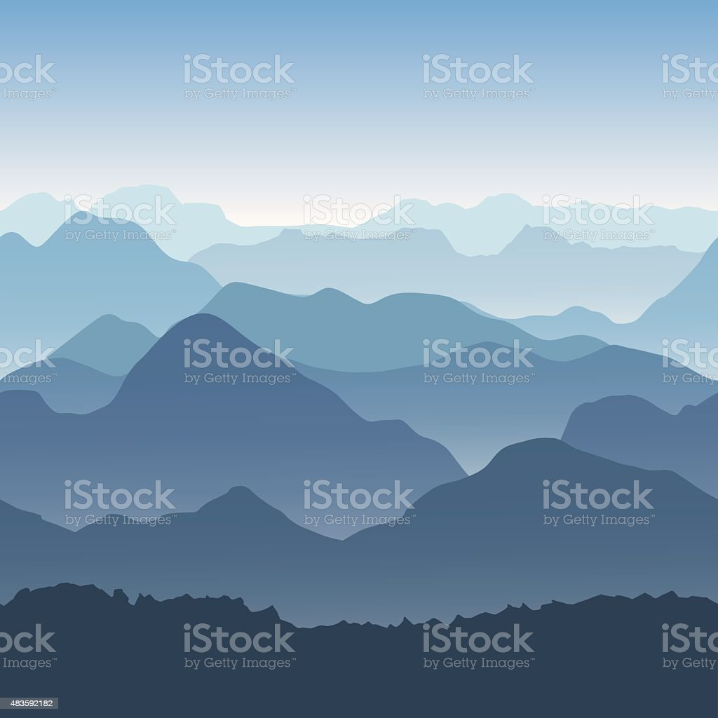Blue mountains in the fog. Seamless background. vector art illustration