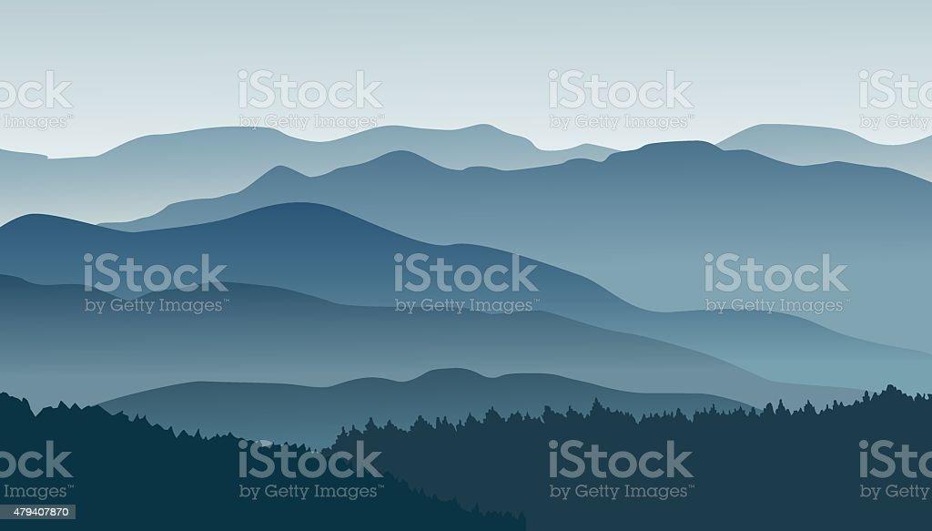 Blue mountains in the fog. vector art illustration