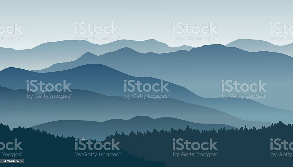 Blue mountains in the fog. vector art illustration