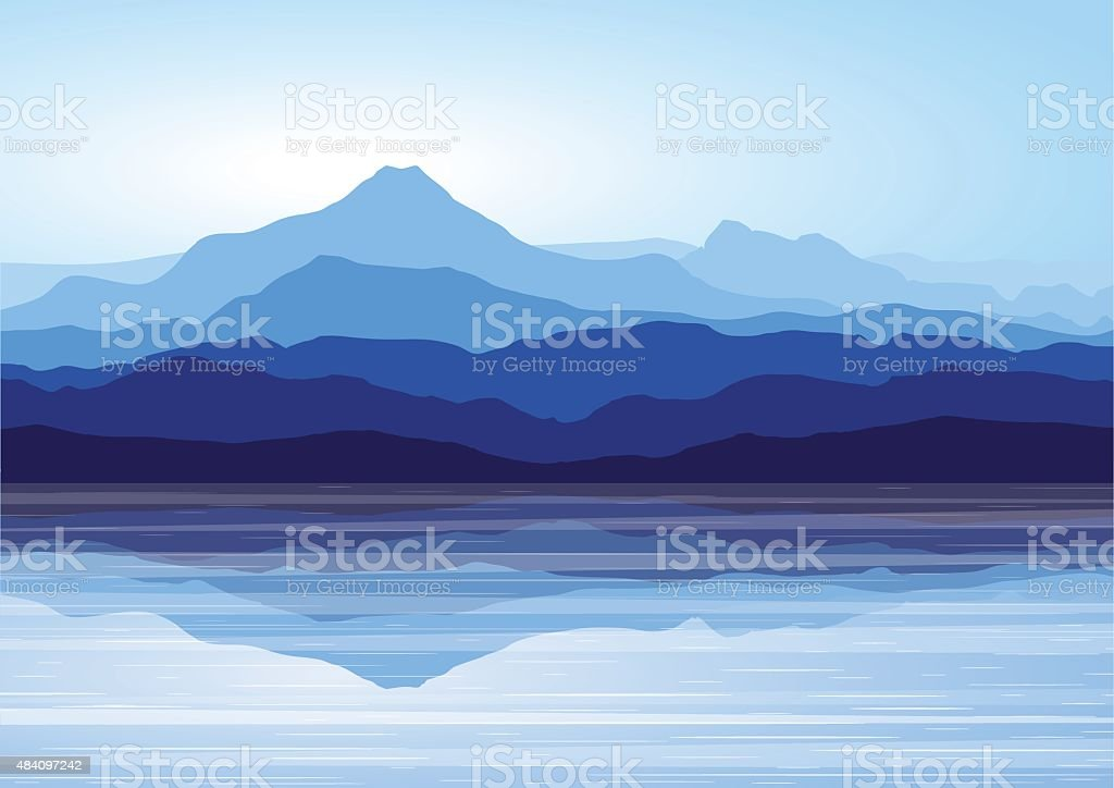 Blue mountains near lake vector art illustration