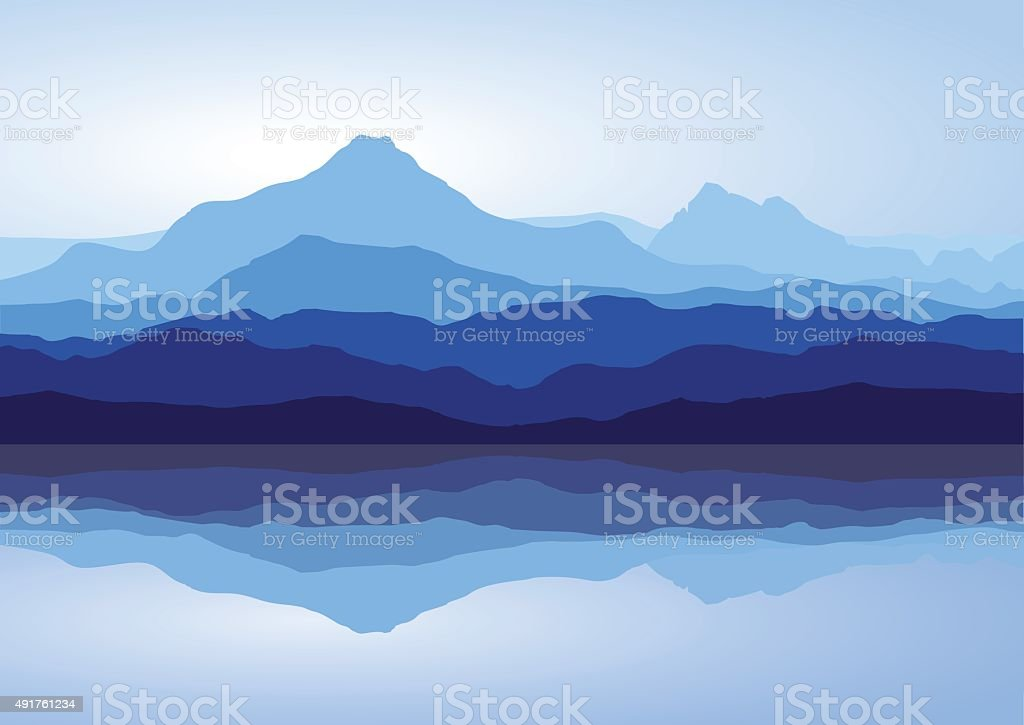 Blue mountains near lake vector art illustration
