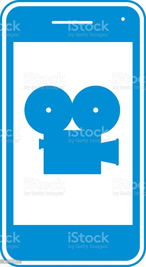 Blue Movie Camera Phone Icon vector art illustration