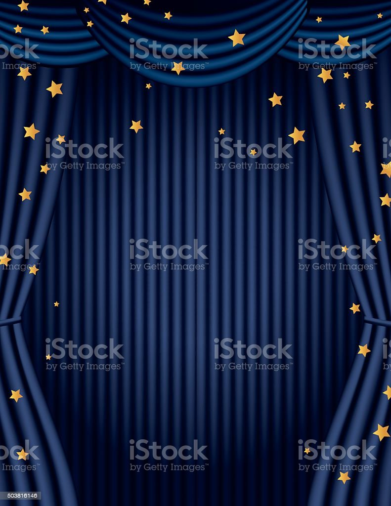 Blue Movie Theatre Curtain With Gold Stars vector art illustration