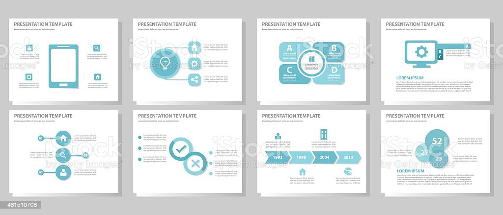 Blue Multipurpose presentation Templates set 1 vector art illustration