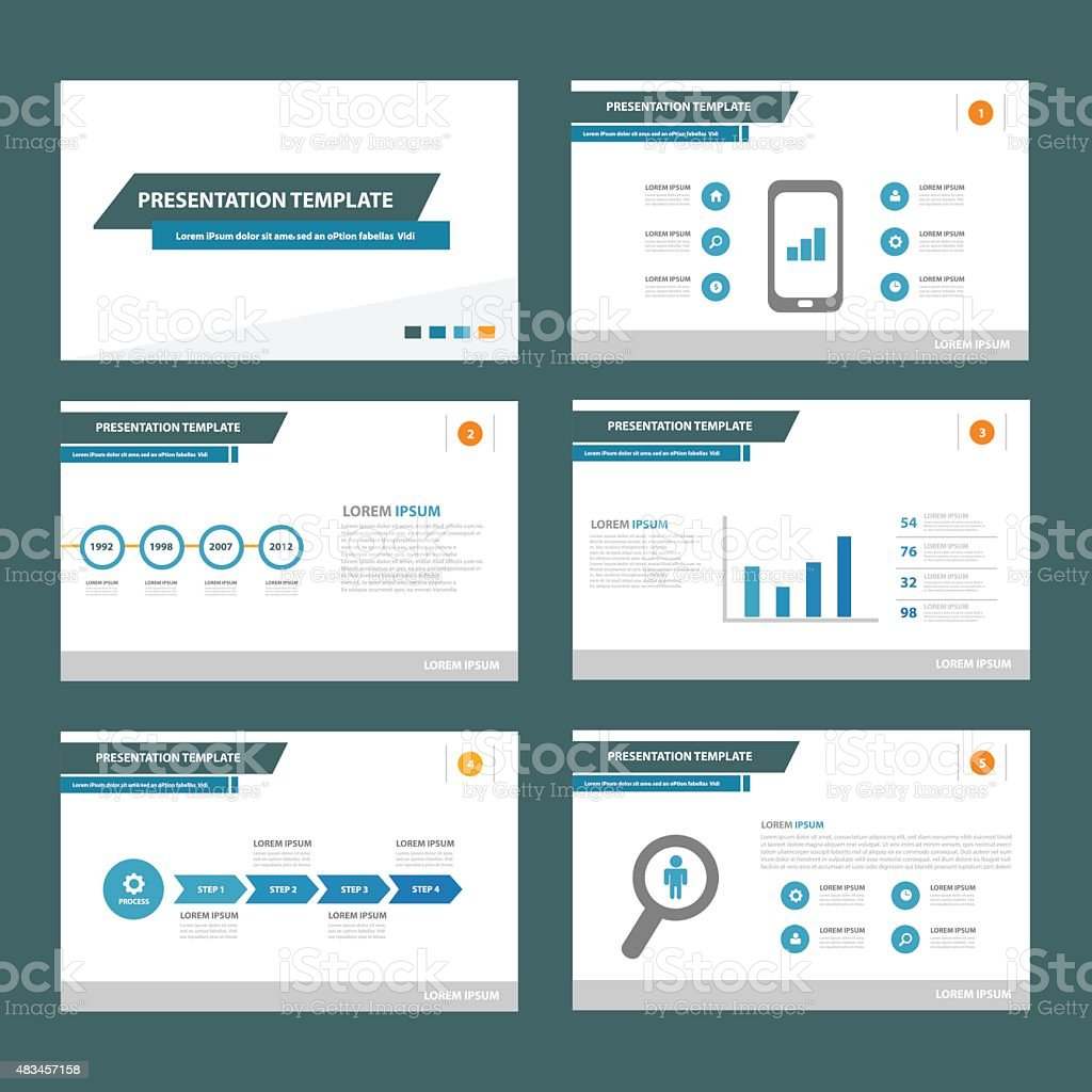 Blue Multipurpose presentation Templates set vector art illustration