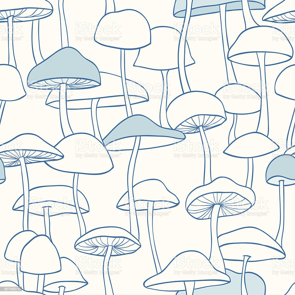 Blue Mushroom Pattern vector art illustration
