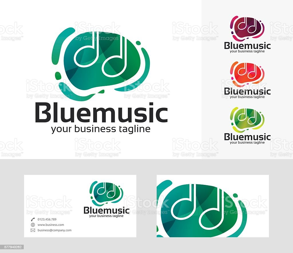 Blue Music vector logo vector art illustration