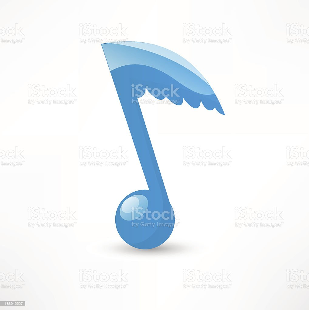 Blue musical note to the wing vector art illustration