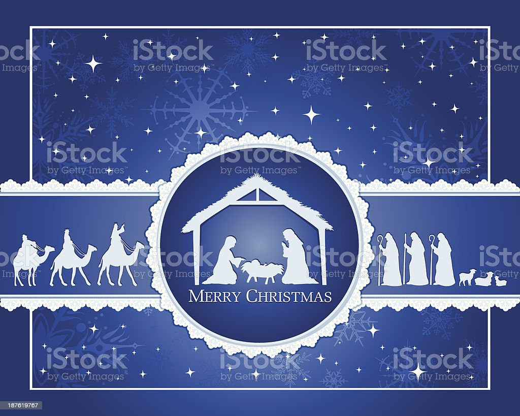 Blue Nativity vector art illustration