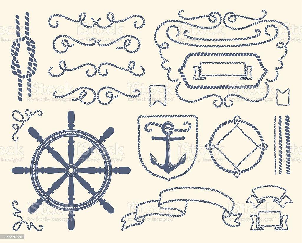 Blue nautical decoration illustration set vector art illustration