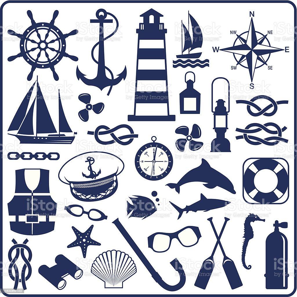 Blue nautical symbols vector art illustration