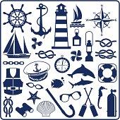Blue nautical symbols