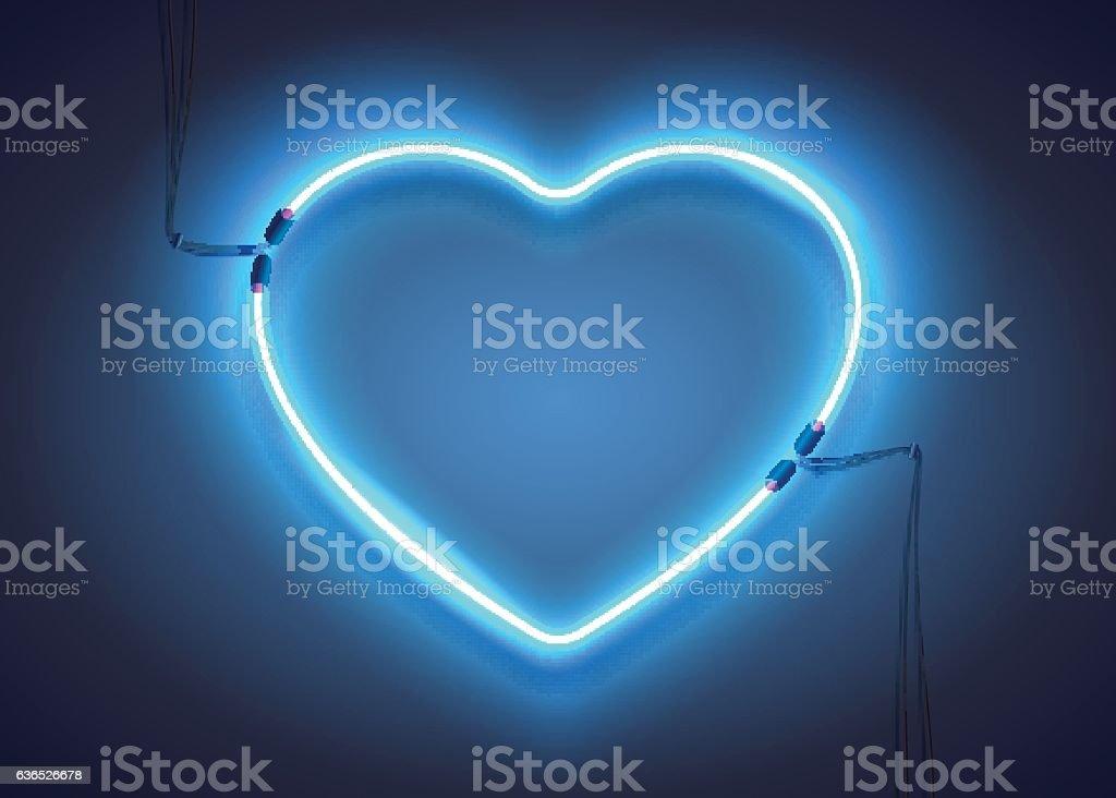 Blue Neon Heart01 Vektor Illustration 636526678 | iStock
