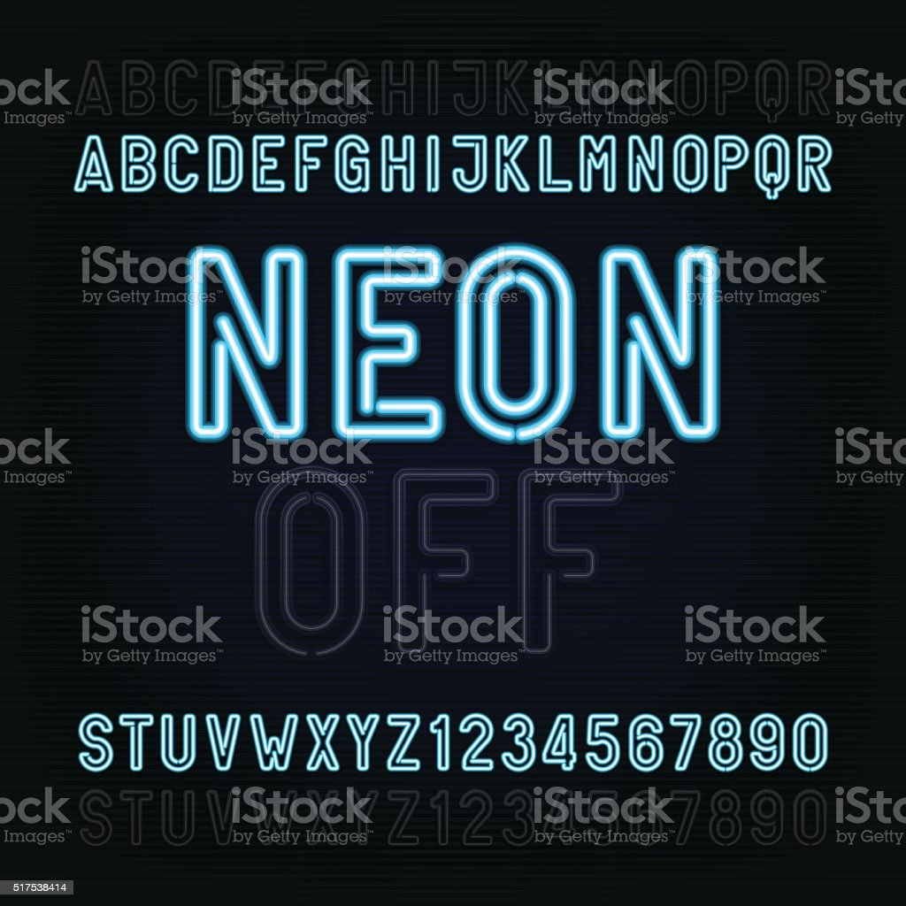 Blue Neon Light Alphabet Font. Lights on or off. vector art illustration