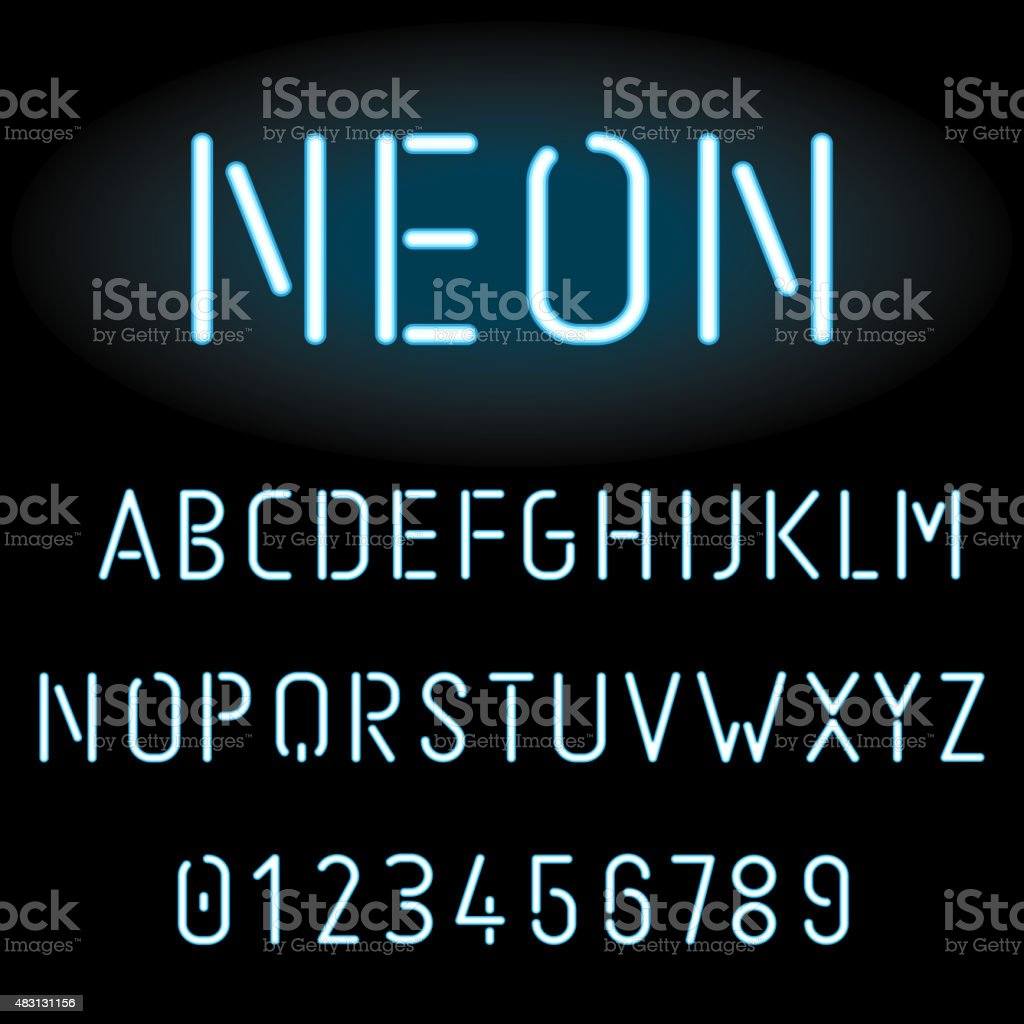 Blue neon light alphabet vector art illustration