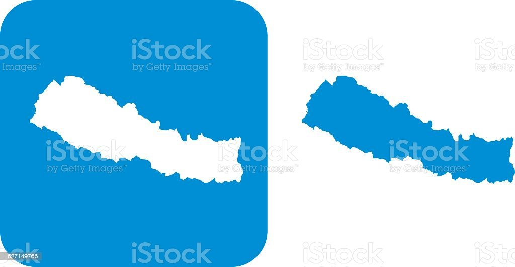 Blue Nepal Icons vector art illustration