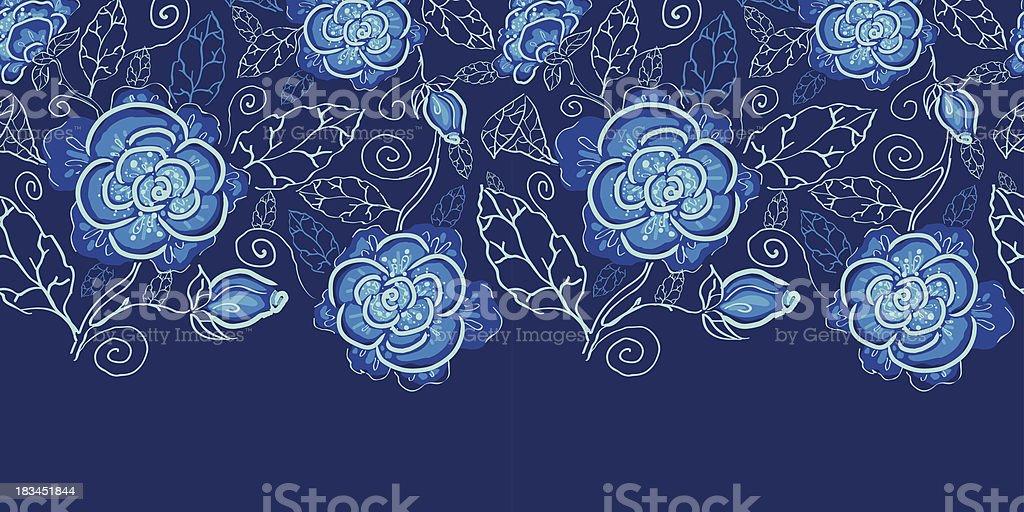 Blue night flowers horizontal seamless pattern background border royalty-free stock vector art