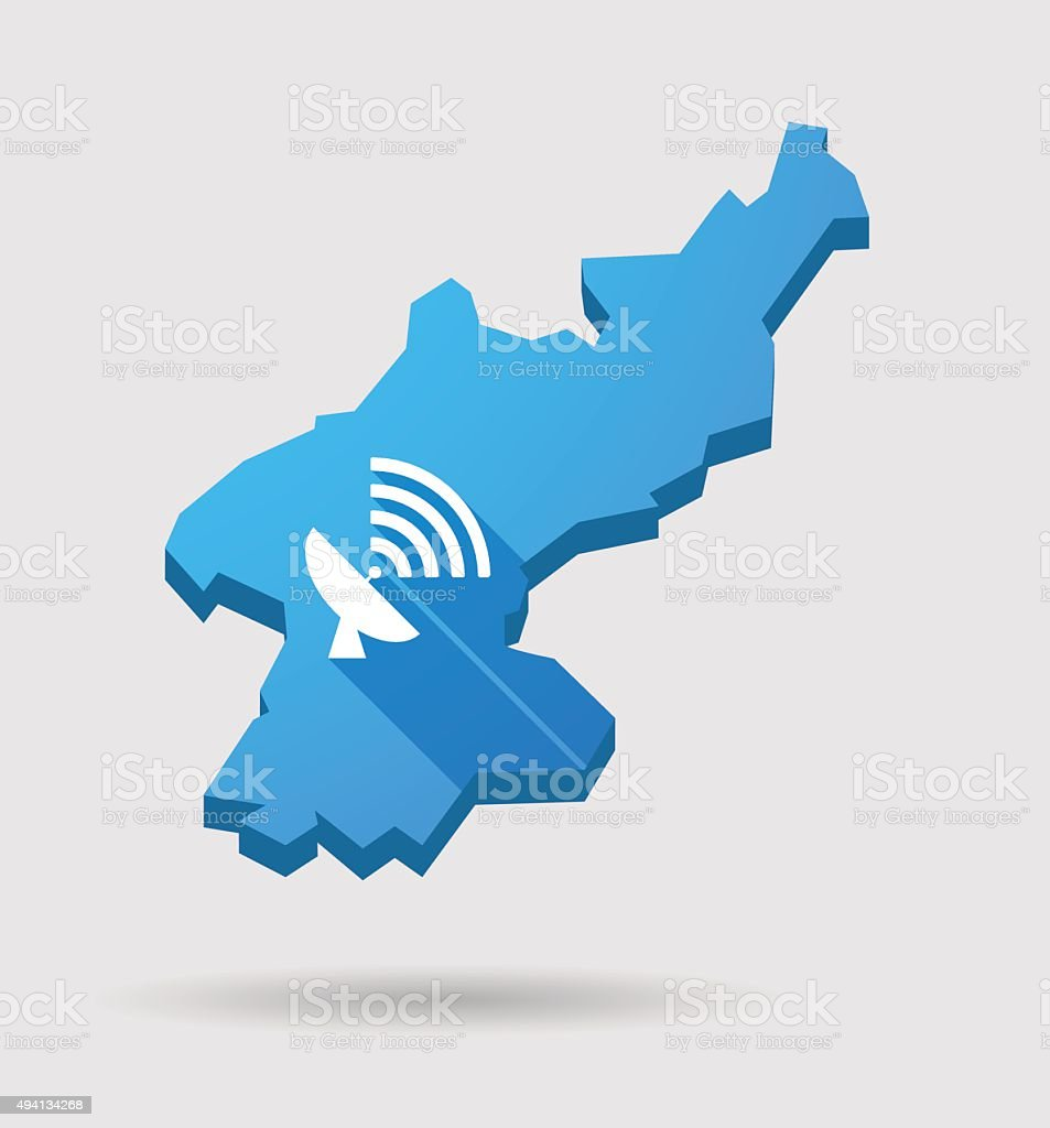 Blue North Korea map with an antenna vector art illustration