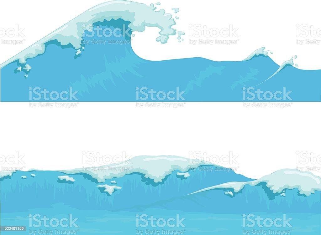 Blue Ocean Wave, giant wave vector art illustration