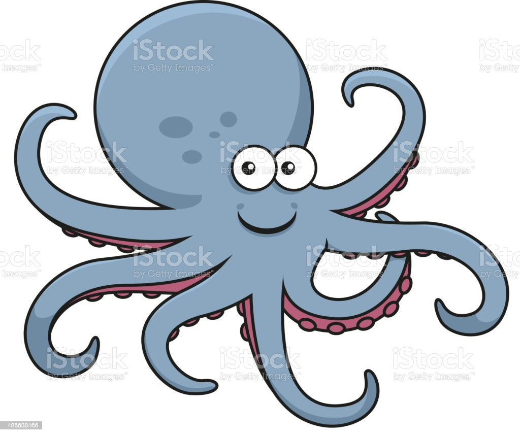 Blue octopus with curved tentacles vector art illustration