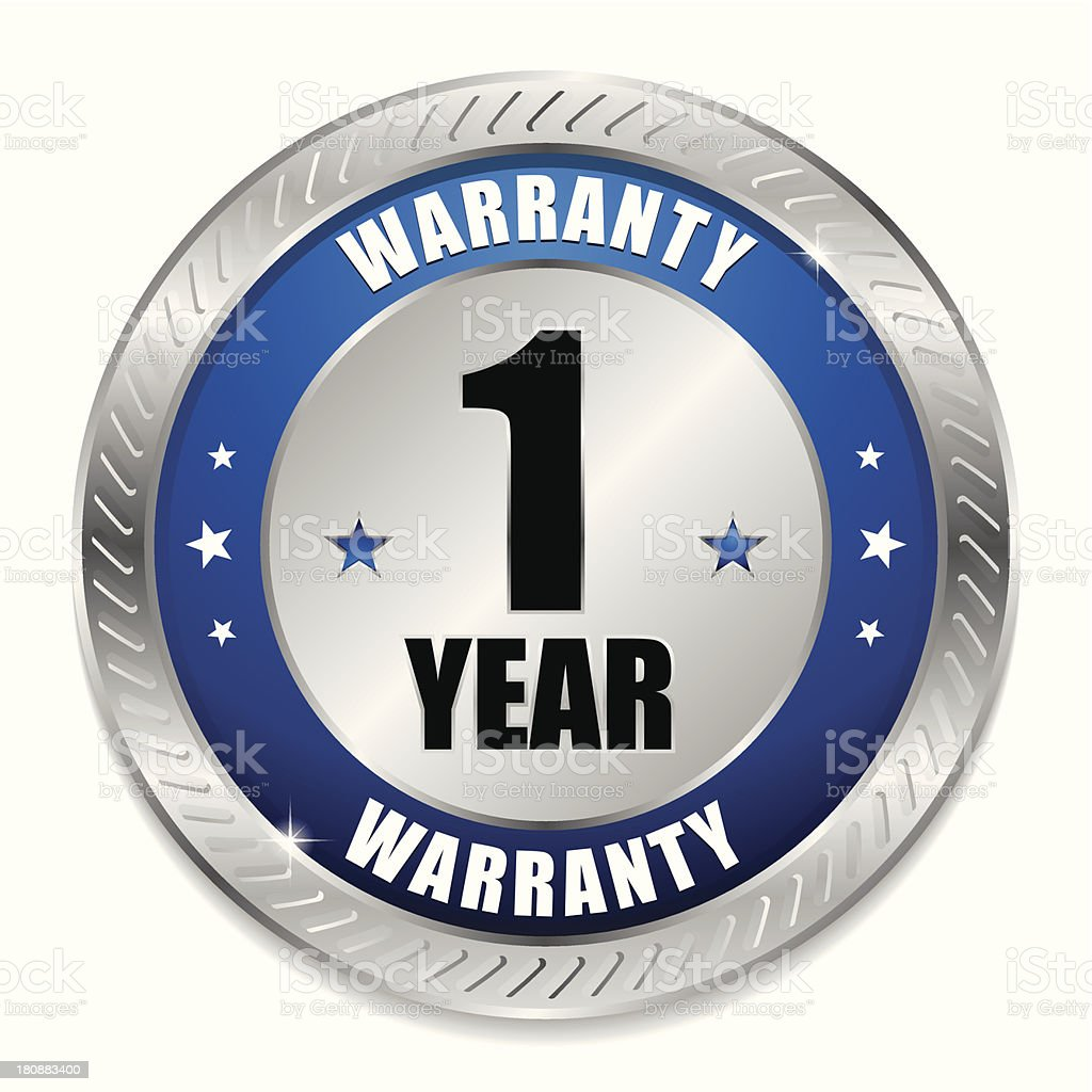 Blue one year warranty seal royalty-free stock vector art