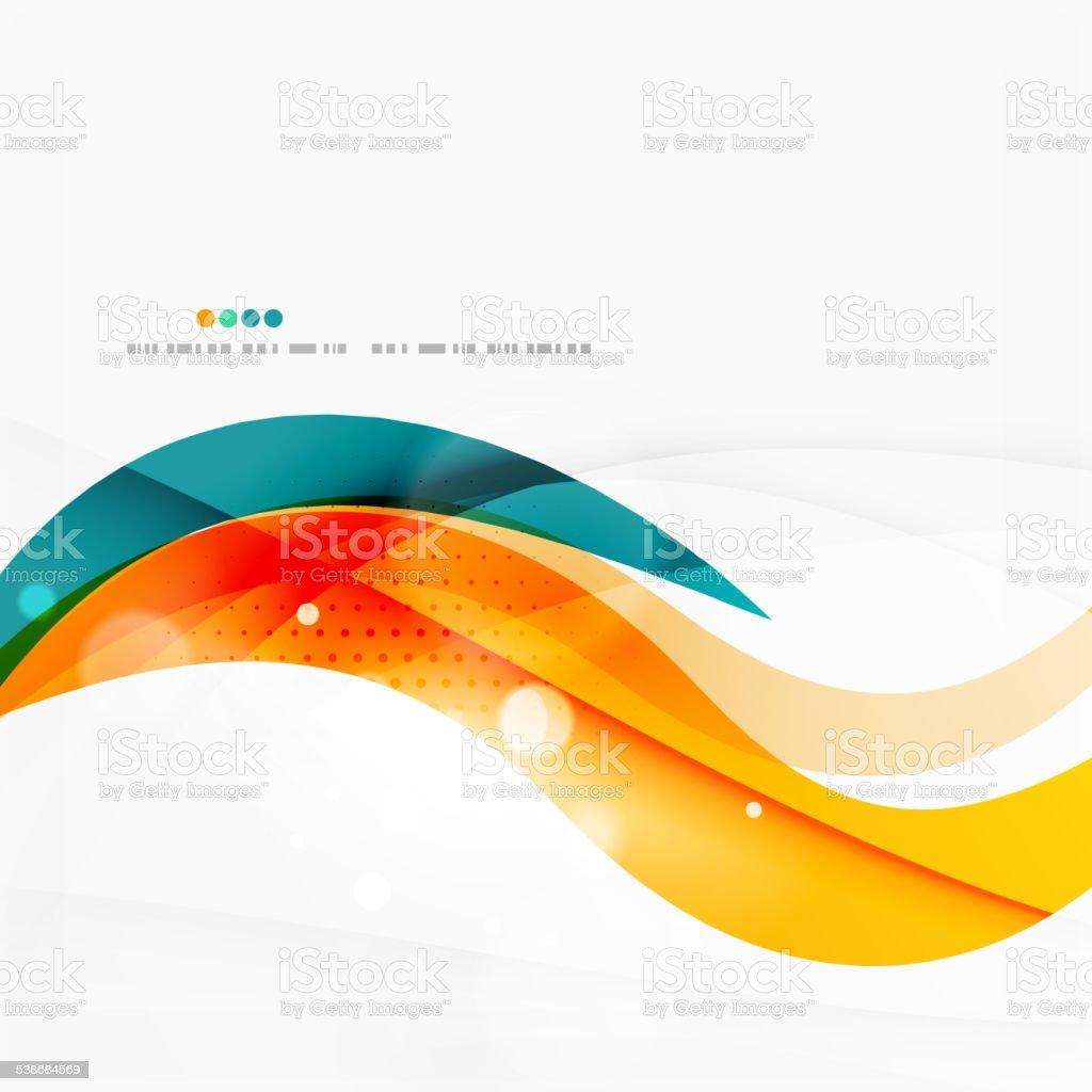 Blue, orange, red swirl wave lines. Light design vector art illustration