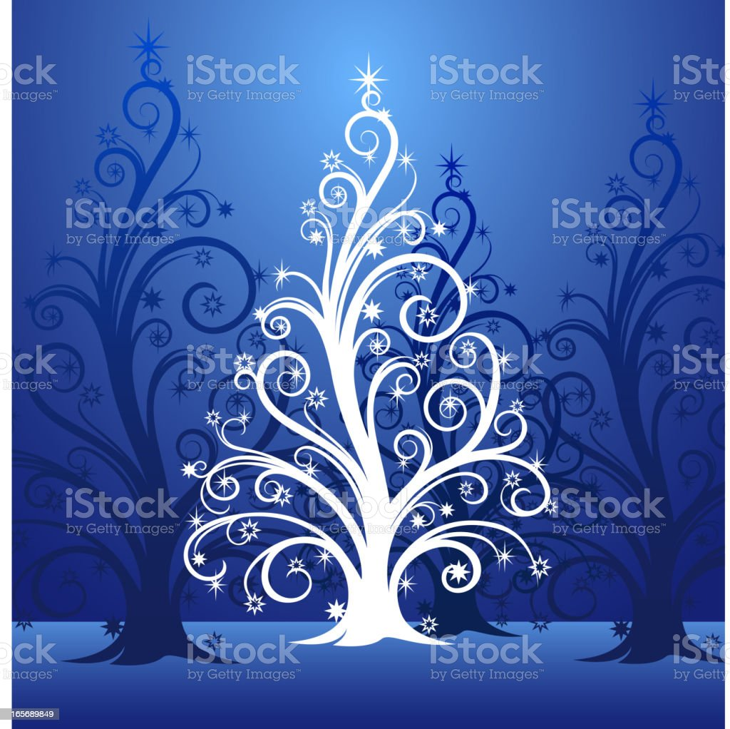 Blue Ornate Christmas Tree royalty-free stock vector art