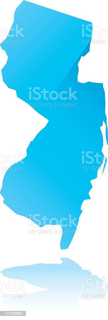 Blue outline map of New Jersey state royalty-free stock vector art