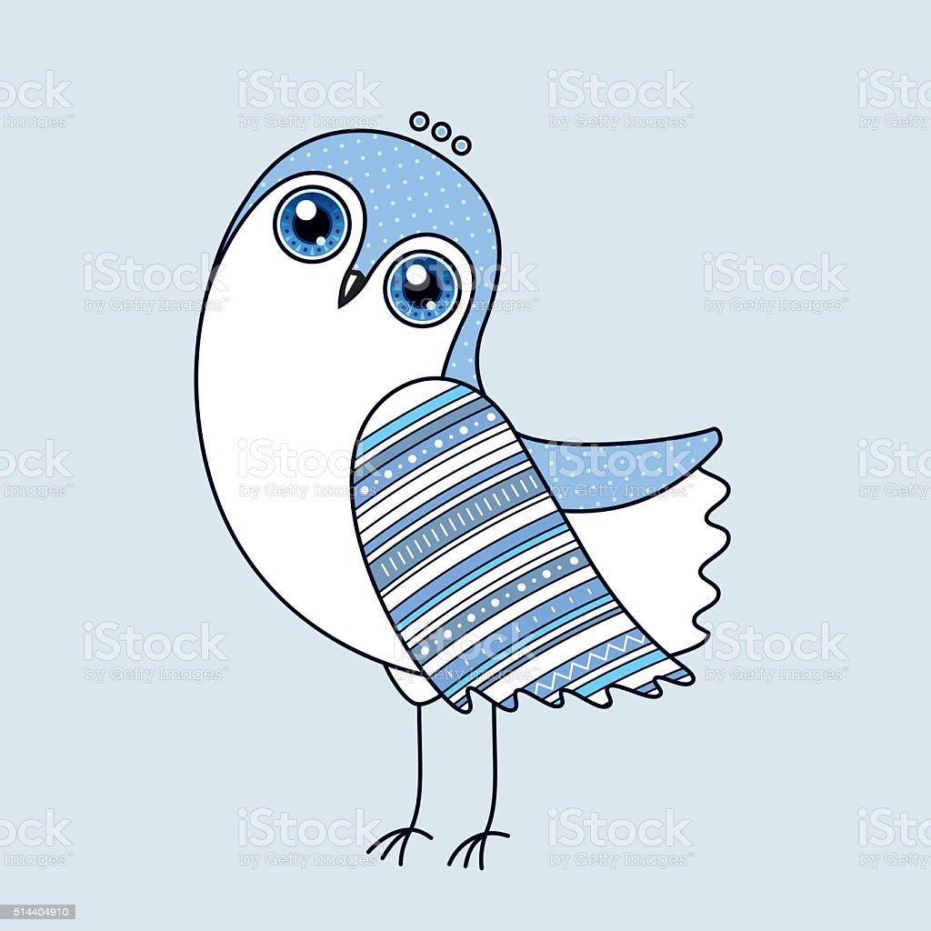 Blue Owl Vector Character vector art illustration