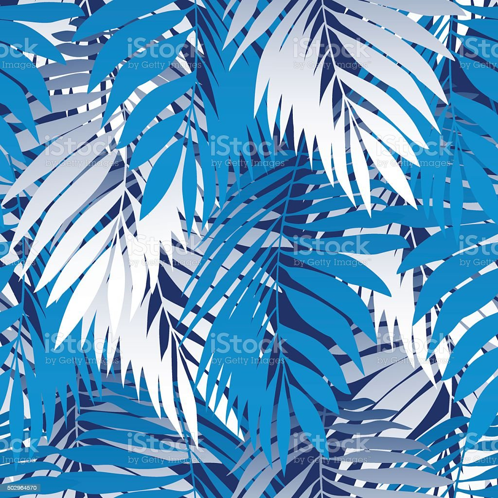 Blue palm leaves in a seamless pattern vector art illustration