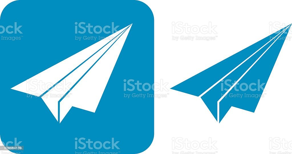 Blue Paper Airplane Icons, vector art illustration