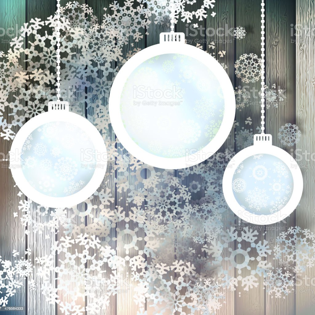 Blue paper christmas balls on a wood. EPS 10 royalty-free stock vector art