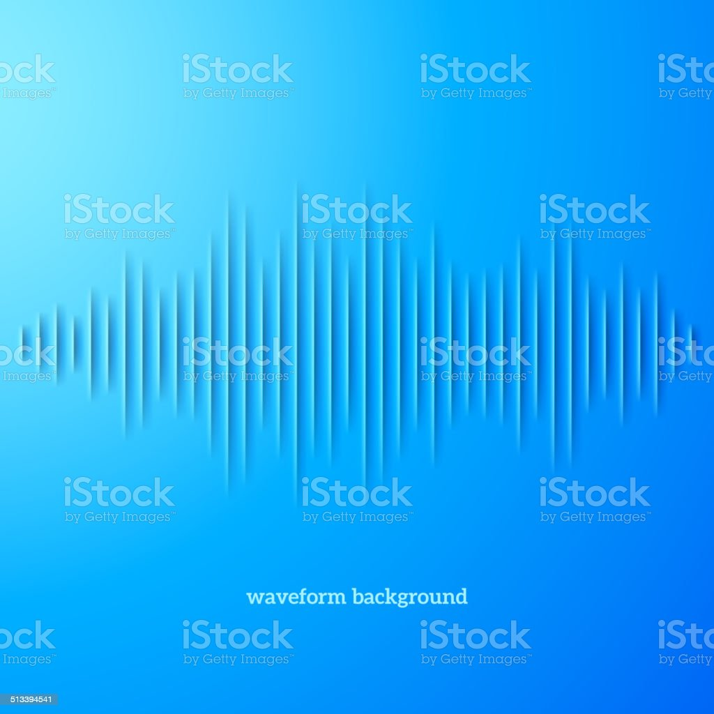 Blue paper sound waveform with shadow vector art illustration